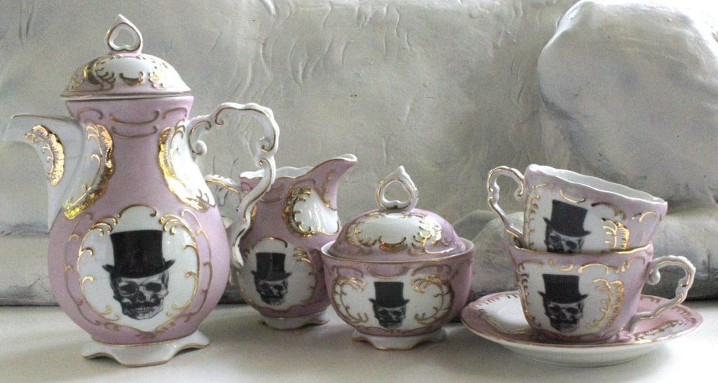 Pink & Gold Sugarskull Skull Top Hat Tea Cups