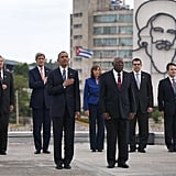 President Obama stood next to Salvador Sanchez Mesa, Vice President of the Council of Ministry, during a wreath-laying ceremony on March 21 at the Jose Marti memorial in Havana's Revolution Square.