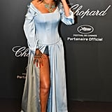 The Thigh-High Slit on Rihanna's Shirt Gown and Corset by Adam Selman