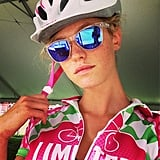 Model Erin Heatherton looked pretty in pink during a ride for Pelotonia, an organization that benefits cancer research.