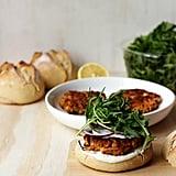 Sweet-Potato-Chickpea Burgers With Yogurt-Tahini Sauce