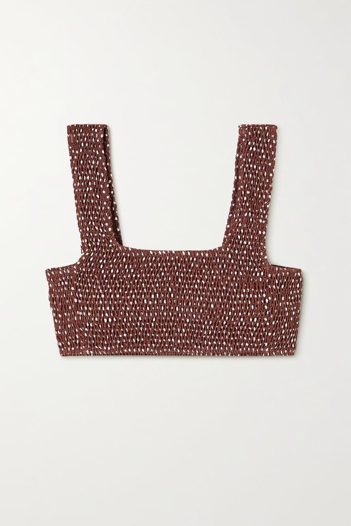 Faithfull The Brand + Net Sustain Shirred Polka-Dot Bikini Top