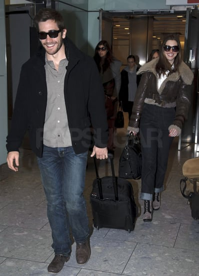 Pictures of Jake Gyllenhaal and Anne Hathaway Arriving in London to Promote Love and Other Drugs