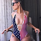 Going Full Americana in a Sexy Plunging One-Piece