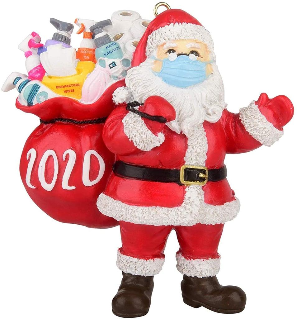 Kaniem 2020 Santa Wearing a Face Mask Christmas Ornament