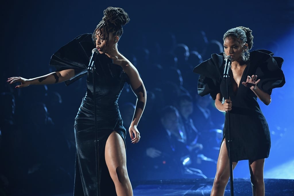 """Only a week after delivering a stunning Super Bowl performance and a day after singing at Clive Davis's pre-Grammys party, sisters Chloe and Halle Bailey — better known as the musical duo Chloe x Halle — took their talents to the Grammys stage Sunday night. The sisters both donned gorgeously structured dresses as they performed a soulful live rendition of Donny Hathaway and Roberta Flack's 1972 hit """"Where Is the Love.""""  It's definitely no wonder that the two were signed to Beyoncé's Parkwood Entertainment in 2015 after Beyoncé herself saw their YouTube cover of """"Pretty Hurts."""" The gifted vocalists were also up for two Grammys on Sunday night: best new artist and best urban contemporary album for their 2018 LP The Kids Are Alright.  But we're the real winners, because we got to see Chloe x Halle totally command the stage, and we're still reeling from it. Watch the performance and view more photos of them singing their hearts out ahead!      Related:                                                                                                           Lady Gaga, Drake, Cardi B, and Everyone Else Who Won a Grammy This Year"""