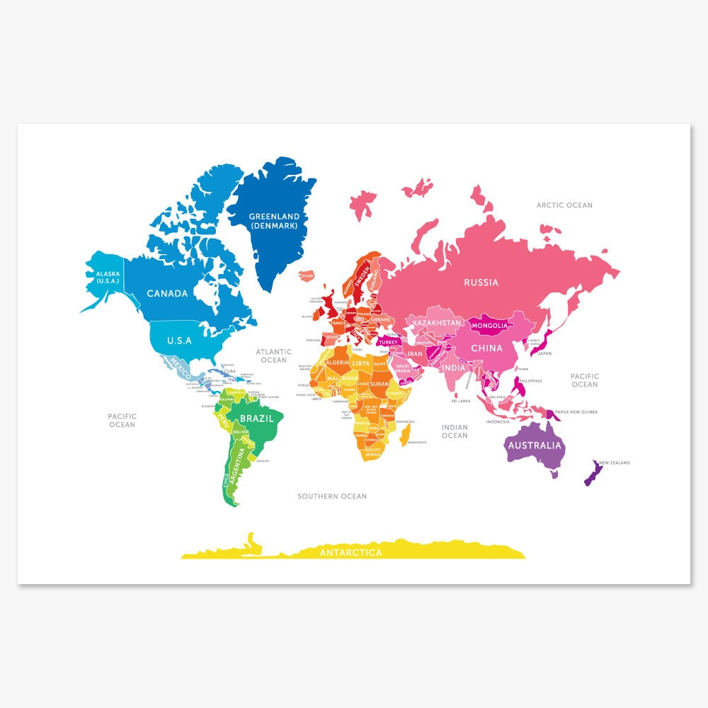 Bright world map 30 map themed wall art for kids rooms bright world map 30 gumiabroncs Choice Image