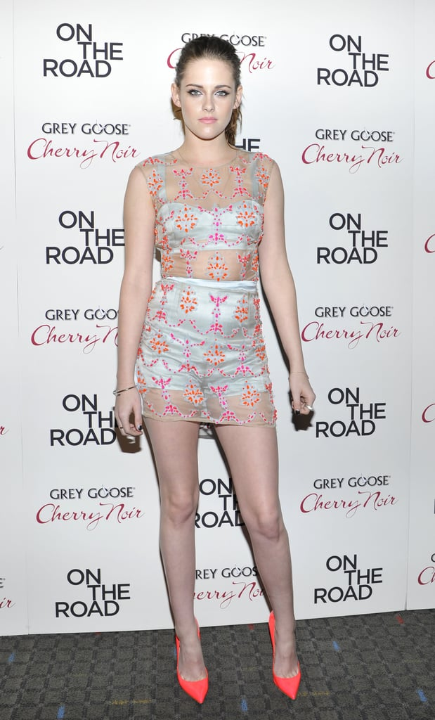 Kristen Stewart wore a partially sheer outfit to the NYC premiere of On the Road in December 2012.