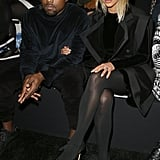 That time Kim slipped into Balmain for the show, but Kanye stuck to his signature velour.