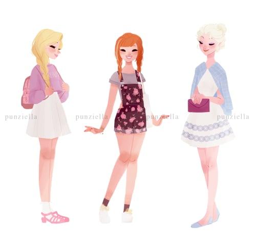 Rapunzel, Anna, And Elsa  Modern Disney Princess -7037