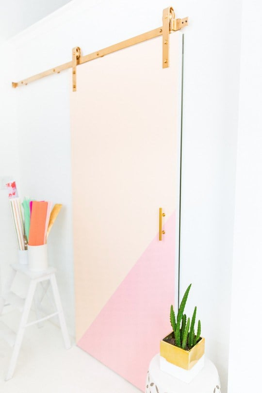 Who says doors have to be boring? Rapunzel would rather make her own colorblocked barn door than settle for something plain.