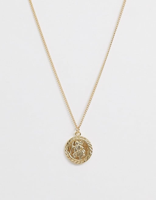 ASOS Design Necklace With St Christopher Coin Pendant