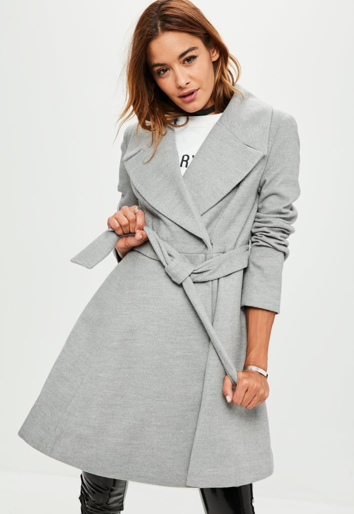 Missguided Gray Belted Skater Coat