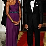 Wearing Doo.Ri at a state dinner welcoming South Korea.