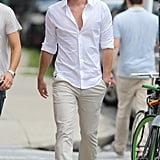 Liam Hemsworth was on the set of Paranoia in Philadelphia, PA, on Monday.