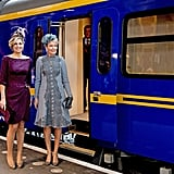 Queen Máxima and Queen Mathilde of Belgium at the train station in Utrecht, The Netherlands.