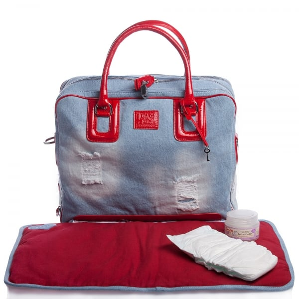 D&G Baby Denim Changing Bag With Patent Red Trims