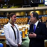 Beyoncé Knowles met with Ban Ki-moon at the UN General Assembly Hall in NYC for World Humanitarian Day.