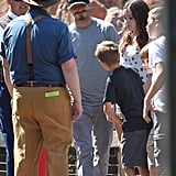 David Beckham walked around Disneyland with his kids.