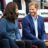 Prince Harry flashed a sweet smile at his sister-in-law when they attended a graduation ceremony in October 2017.