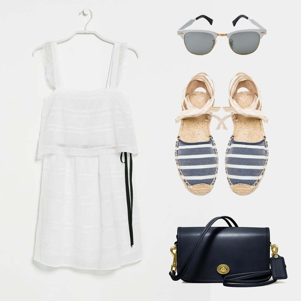 What's easier — or more summery?! – than a breezy LWD. Perfect whether your Memorial Day festivities are on the shore or in the city. Just add walkable espadrilles (like our favorite Soludos!) and throw on a cross-body bag to keep the look effortless. Shop the look:  Mango Crochet Trim Dress ($40) Ray-Ban Clubmaster Aluminium Sunglasses ($166) Soludos Classic Sandal Stripes ($55) Coach Classic Leather Shoulder Purse ($198)