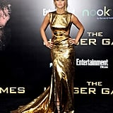 Jennifer Lawrence Is a Showstopper in Sexy Gold For The Hunger Games Premiere