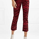 Isabel Marant Étoile Apolo Cropped Zebra-Print Corduroy Skinny Pants