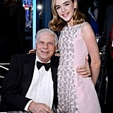Mad Men's Kiernan Shipka and Robert Morse smiled big.
