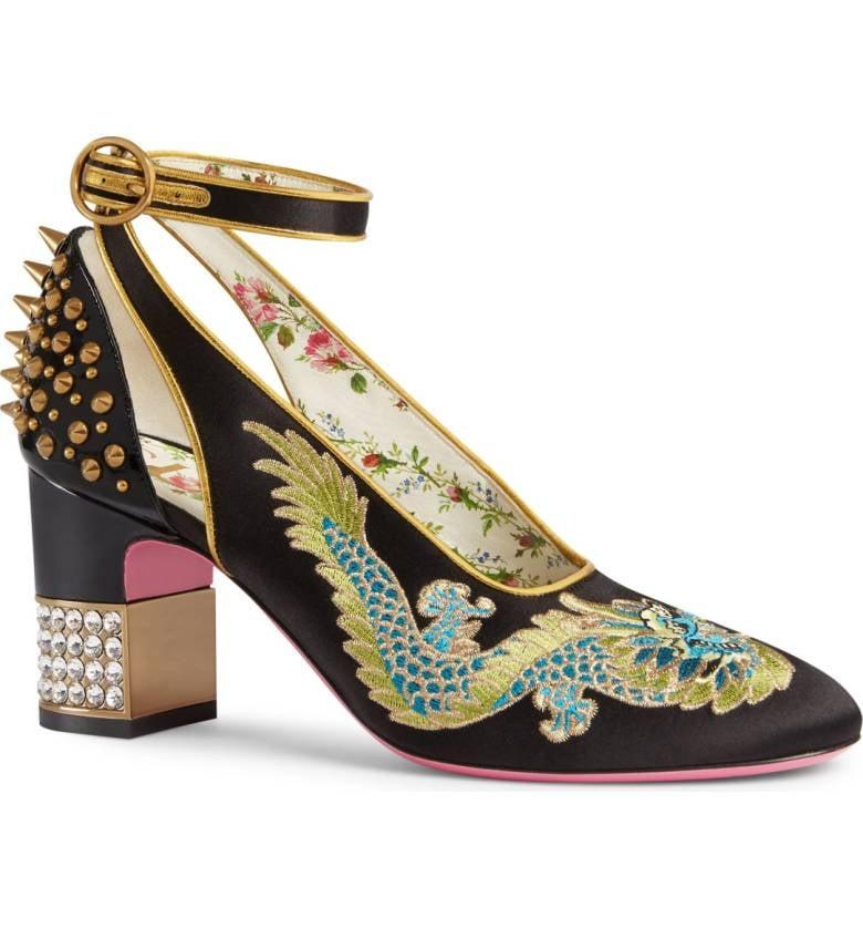 Gucci Caspar Embroidered Ankle-Strap Pump