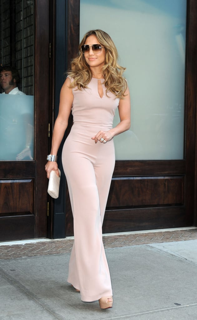 Jennifer Lopez walked out of her hotel in NYC wearing a jumpsuit.