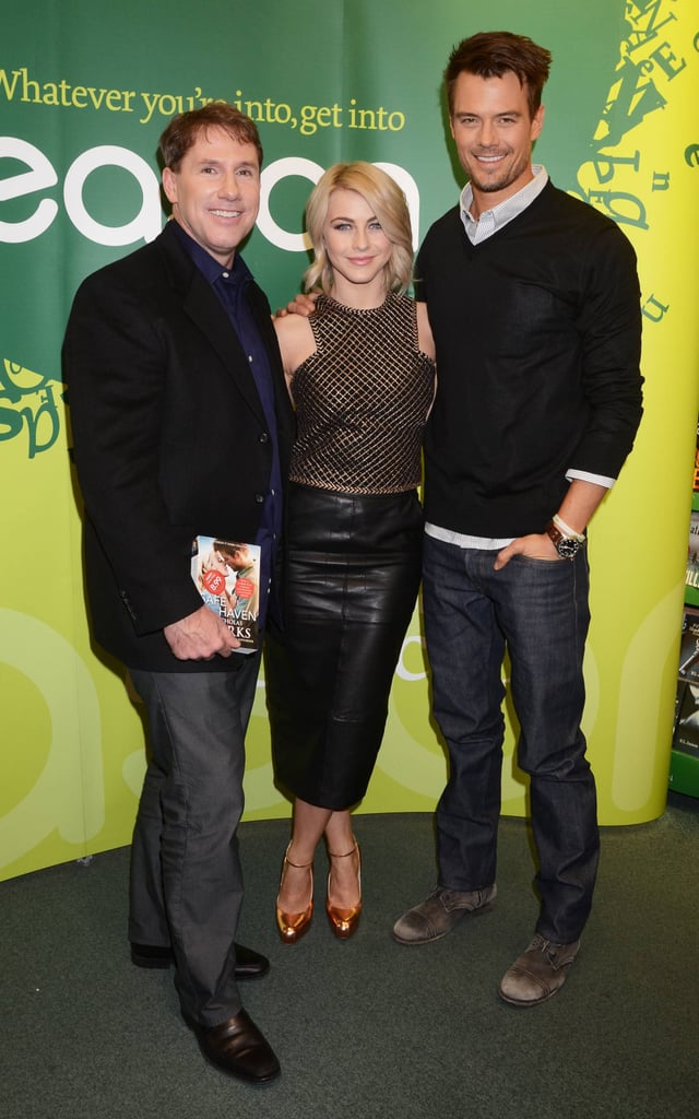 Julianne Hough paired a Bec & Bridge crop top with a black leather pencil skirt and rose gold Brian Atwood pumps at the book signing for Safe Haven in Dublin.