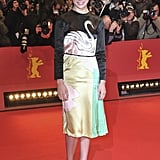 A swan-adorned Miu Miu for the True Grit Berlin premiere.