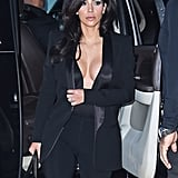 Kim Kardashian wore a cleavage-baring outfit  while out in NYC on Monday.