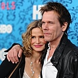 Husband and wife Kevin Bacon and Kyra Sedgwick got close at the premiere of HBO's new series Girls in NYC.