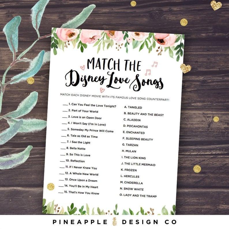 Disney Love Song Printable Matching Game | Printable Bridal