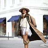 Winter Outfit Idea: A Camel Coat and White Sweater