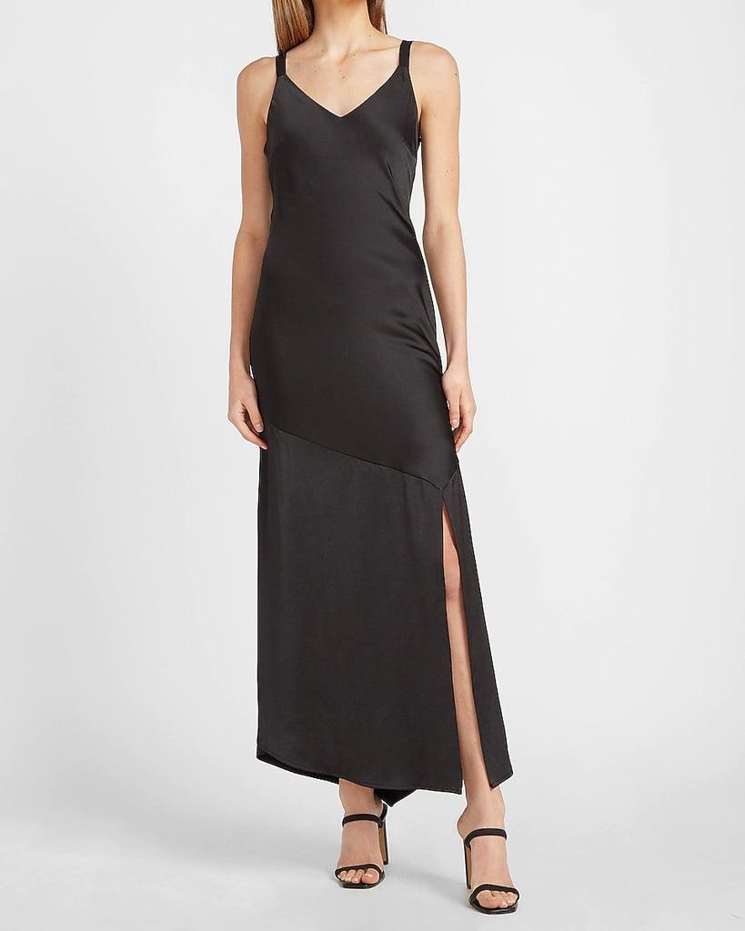 For a Fancy Night Out: Express Satin V-neck Midi Slip Dress