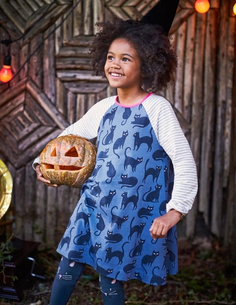 Mini Boden Glow In The Dark Cat Dress Halloween Clothes For Kids