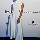 Victoria Beckham was the perfect model for her own creations at the amfAR Hong Kong gala on Saturday.