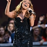 Mariah Carey belted it out on stage at the NFL Kickoff concert at Rockefeller Center.