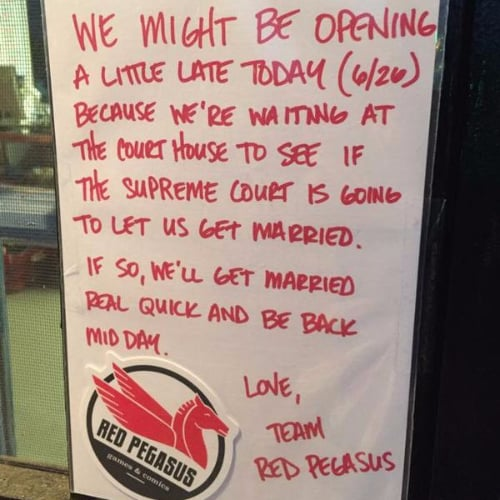 Sign Outside Comic Store About Gay Marriage