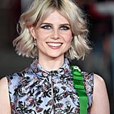 Lucy Boynton's Blue Eyeliner and Voluminous Hair, 2017