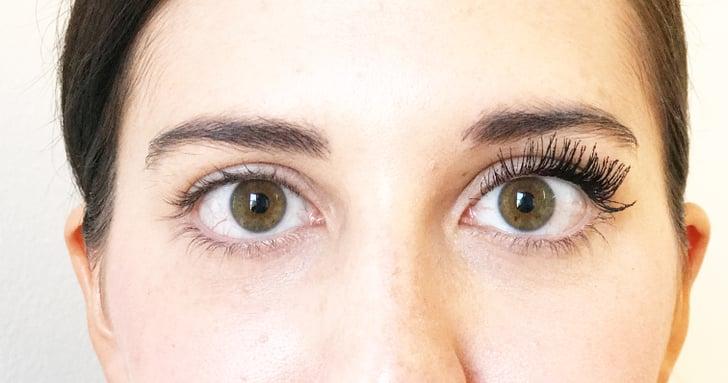 2 Coats of Tarte Maneater Mascara on Left Eye