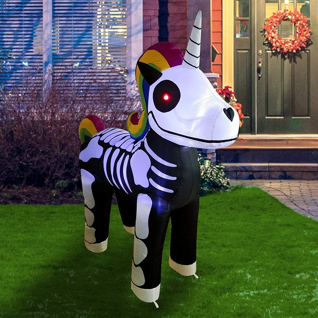 "Getting the kids excited for Halloween isn't just about spookifying the inside of your house — outdoor decorations are important, too! If you're looking to make your house stand out on the block this Halloween, start with this fun unicorn skeleton for your backyard. Currently sold on Amazon for $40, the five-foot-tall inflatable is not only a delight to the eyes, but also completely stable and safe. And as if it weren't already extra enough, this giant unicorn skeleton also comes with built-in LED lights, so your neighbors can be reminded of your epic decor skills even at night. One Amazon reviewer said the product ""inflates very quickly and stays fully inflated"" and another noted its ""easy setup."" So if you're on the market for a ridiculous backyard piece, look no further than this magical unicorn skeleton. While you might not have trick-or-treaters stopping by your house this year, you might as well go the extra mile for your family to enjoy. Ahead, shop the wacky inflatable.      Related:                                                                                                           Lowe's Is Selling a Giant Mickey Mouse Pumpkin Inflatable, and We Love It More Than Most Things"