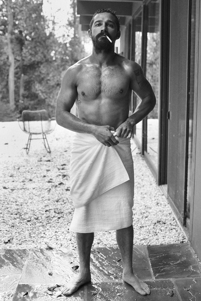 Shia looked insanely hot while wearing only a towel in the November 2014 issue of Interview magazine.