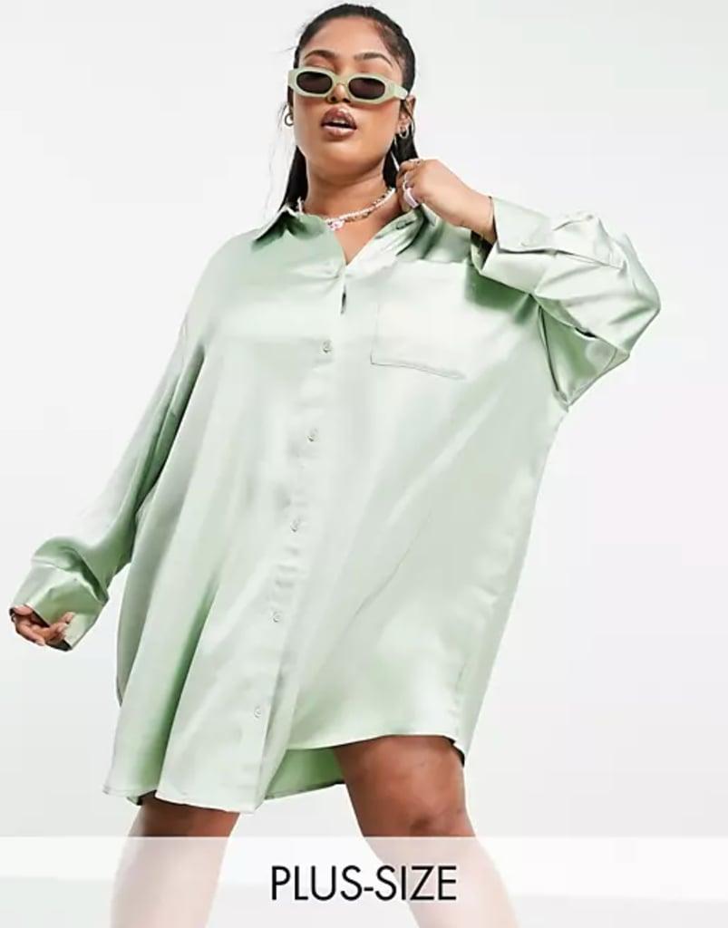 Shop Shirt Dresses: Collusion Plus Mini Satin Shirt Dress in Green