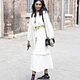 We love the bit of boy-meets-girl here, thanks to the ruffles mixed with cool brogues.