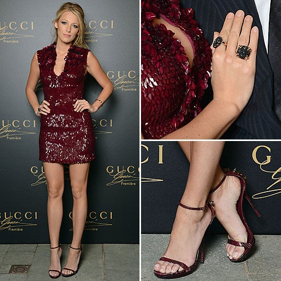 Blake Lively Red Gucci Dress | POPSUGAR Fashion
