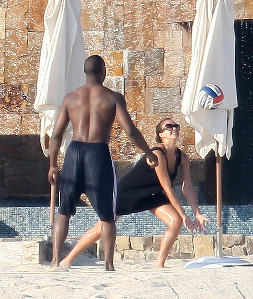 Jessica Alba played beach volleyball with pal Baron Davis in September 2008.