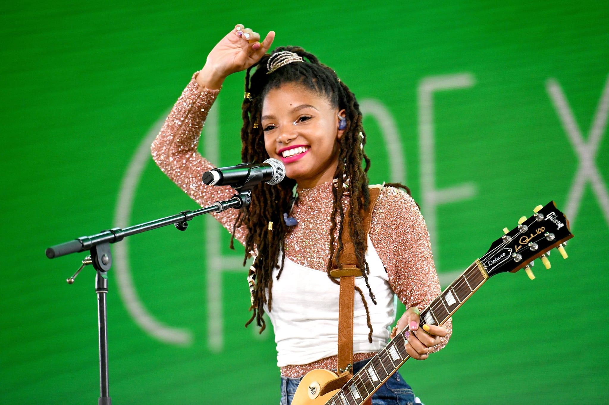 INDIO, CA - APRIL 14:  Singer Halle Bailey of the duo Chloe x Halle performs on the Mojave stage during week 1, day 2 of the Coachella Valley Music and Arts Festival on April 14, 2018 in Indio, California.  (Photo by Scott Dudelson/Getty Images for Coachella  )